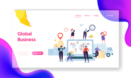 Global Logistic Business Team Cooperation Landing Page. Female with Geotag Symbol stay on Delivery Trailer. Worldwide Delivery Company Concept for Website or Web Page Flat Cartoon Vector Illustration