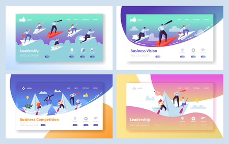 Business Leadership Growth Landing Page Set. Manager Team Challenge for Finance Profit. People Character Reaching Forward Direction Metaphor Concept for Website Flat Cartoon Vector Illustration 向量圖像