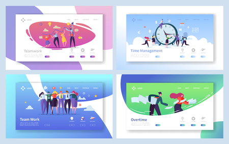 Business People Teamwork Landing Page Set. Creative Corporate Team Collaboration Work for Innovation Time Management Strategy. Overtime Character Concept for Website Flat Cartoon Vector Illustration