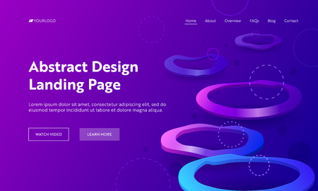 Geometric Abstract Purple Distortion Circle Landing Page Backdrop. Minimal Futuristic Background Violet Neon Light. Crooked Colorful Concept for Website or Web Page Flat Vector Cartoon Illustration Ilustração
