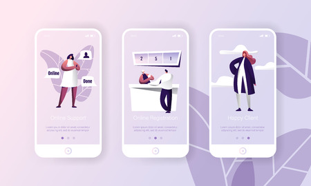 Online Support Customer Hepldesk Service App. Person Register Technology Mobile Application Page Onboard Screen Set. Hotline Chat with Happy Client Character Flat Cartoon Vector Illustration