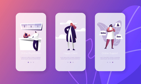 Online Registration Support Customer Character Hepldesk Application Set. Person Register Interface Onboard Screen. Hotline Connection Chat App with Happy Client Flat Cartoon Vector Illustration