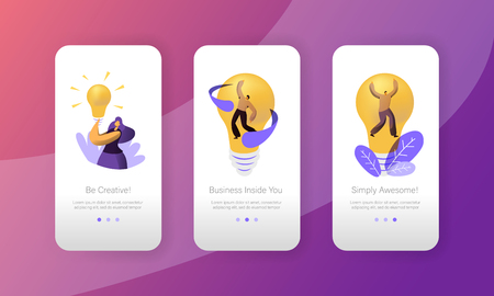 Startup Creative Idea Lightbulb Concept Mobile App Page Onboard Screen Set. People Work in Project Motivation Success. Brainstorm Innovation for Website or Web Page. Flat Cartoon Vector Illustration