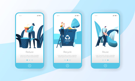 Recycle Garbage Trash Bin Mobile App Page Onboard Screen Set. People Reuse Plastic to Clean Environment. City Ecology Container Concept for Website or Web Page. Flat Cartoon Vector Illustration 向量圖像