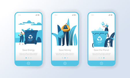 Recycling Plastic Garbage Bin Mobile App Page Onboard Screen Set. People Reuse Trash to Reduce Nature Pollution. Eco Energy Character Concept for Website or Web Page. Flat Cartoon Vector Illustration