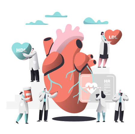 Doctor Diagnose Heart for Cholesterol Presence Image. Woman write Case History in Personal Card. Female bring Pharmacy Medicine Container. Human Hold Ldl Hdl Heart. Flat Cartoon Vector Illustration