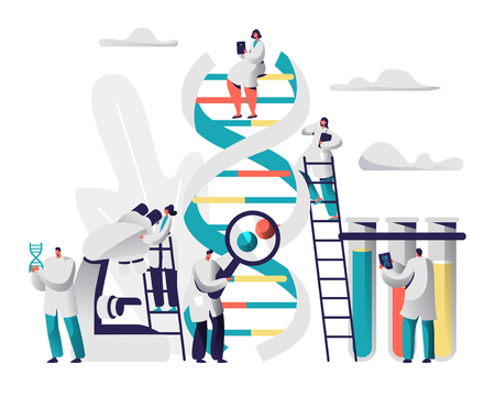 Scientist Group Explore Genome Pair in DNA Cell Image. Female Explorer stay on Ladder watch Microscope. Male Researcher observe Radiograph in front of Test Tube. Flat Vector Cartoon Illustration