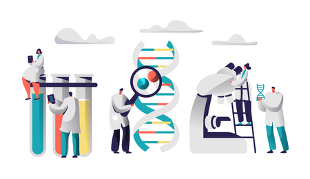Scientist Team Research Medicine in Chemical Laboratory Image. Female in Medical Gown sit on Test Tube with Tablet. Man with Magnifier explore Genome Pair. Flat Vector Cartoon Illustration Foto de archivo - 115814681