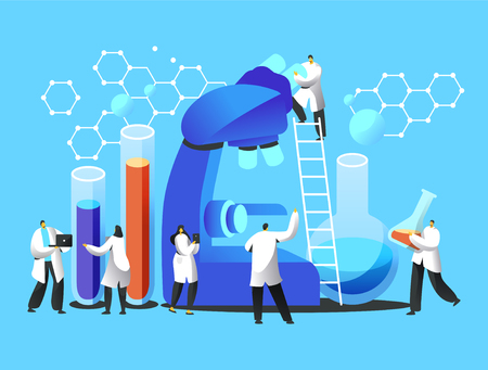 Chemist Team explore Microbiology in Laboratory Image. Male Explorer stay on Ladder watch Microscope. Man in Scientist Gown carry Glass Flask with Reagent. Flat Vector Cartoon Illustration