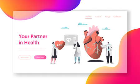 Professional Health Care Partnership Landing Page. Cardiologist with Stethoscope listen Human Heartbeat. Female Record Hospital Chart in Patient Card. Flat Cartoon Vector Illustration