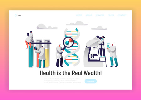 Explorer Hold DNA Cell Model Landing Page. Researcher observe Radiograph in front of Test Tube. Medic with Magnifier Research Genome Pair in Flask Website or Web Page Flat Cartoon Vector Illustration Illustration
