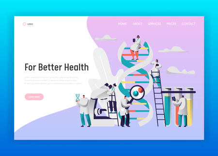 Chemical Laboratory Test Dna Data Landing Page. Medical Pharmaceutical Explorer Equipment Microscope. Male Researcher Explore Radiograph for Website or Web Page Flat Vector Cartoon Illustration