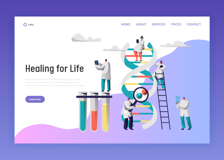 Medical Laboratory Test Dna Data Landing Page. Medical Pharmaceutical Service Equipment for Genome Research. Man Explore Radiograph for Website or Web Page Flat Vector Cartoon Illustration