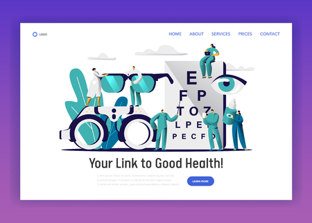 Ophthalmologist Doctor Check Eye Health Landing Page. Man Oculist Character with Pointer Exam Eyesight. Medical Team hold Eyewear, Drop for Treatment Website Flat Cartoon Vector Illustration