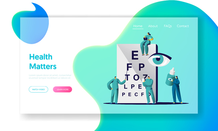 Ophthalmologist Doctor Check Eye Sight Landing Page. Man Oculist Character Analysis Eyesight. Medical Optometrist Team Care Drop for Treatment Website Flat Cartoon Vector Illustration