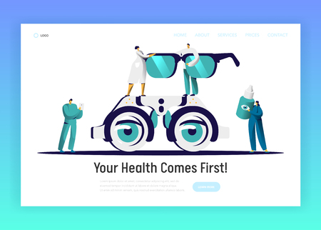 Ophthalmologist Doctor Analysis Eyewear Landing Page. Man Oculist Character Test Eye Drop. Medical Optometrist Laboratory Treatment Spectacles Website Flat Cartoon Vector Illustration  イラスト・ベクター素材