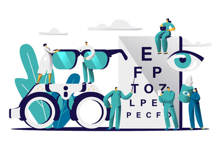 Ophthalmologist Doctor Test Myopia Eye. Male Oculist with Pointer Checkup Optometry for Eyeglasses. Medical Optician Team hold Eyewear, Drop for Treatment Flat Cartoon Vector Illustration 写真素材 - 123179356