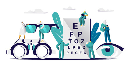 Ophthalmologist Doctor Check Eyesight for Eyeglasses Diopter. Male Oculist with Pointer Checkup eye Sight. Professional Optician Team Exam Patient for Treatment Drop Flat Cartoon Vector Illustration
