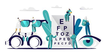 Oftalmólogo Doctor Check Eyesight para anteojos Dioptrías. Oculista masculino con vista de puntero chequeo. Paciente del examen del equipo óptico profesional para la ilustración del vector de la historieta plana de la gota del tratamiento