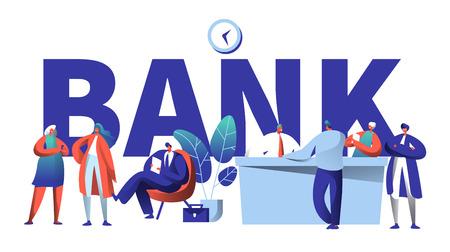 Online-Bank-Business-Charakter-Typografie-Banner. Safe Investment Meeting im FinTech Startup Office. Bankkunden warten in der Warteschlange auf Plakat-Schablonen-Vektor-flache Karikatur-Illustration Vektorgrafik