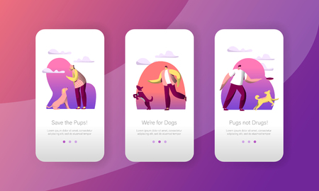Dog Play Jump with Woman Owner Outdoor Mobile App Page Onboard Screen Set. Happy Pet Walk Outside. Canine Puppy Training Concept for Website or Web Page. Flat Cartoon Vector Illustration Illustration