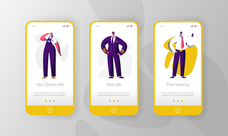 Different Job Profession Vacancy Character Mobile App Page Onboard Screen Set. Vacant Career to Choose Pilot Worker. Job Fair Concept for Website or Web Page. Flat Cartoon Vector Illustration Иллюстрация
