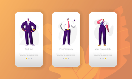 Business Job Vacant Profession Opportunity Character Mobile App Page Onboard Screen Set. Candidate for Manager Vacancy. Recruitment Job Fair for Website or Web Page. Flat Cartoon Vector Illustration