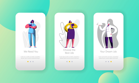 Different Job Vacancy Choose Opportunity Character Mobile App Page Onboard Screen Set. Chef and Doctor Career Candidate. Hr Recruitment Business Website or Web Page. Flat Cartoon Vector Illustration Vektorové ilustrace