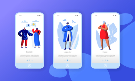 Social Media Network Business Character Mobile App Page Onboard Screen Set. People Chat Comment in Worldwide Internet. Woman Message to Man Website or Web Page. Flat Cartoon Vector Illustration
