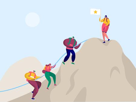 La gente sube a la montaña de la roca a la bandera de la victoria. Sport Adventure Challenge Apunta al personaje escalador con mochila. Trekking alpinista para apuntar al pico Everest Flat Cartoon Vector Illustration