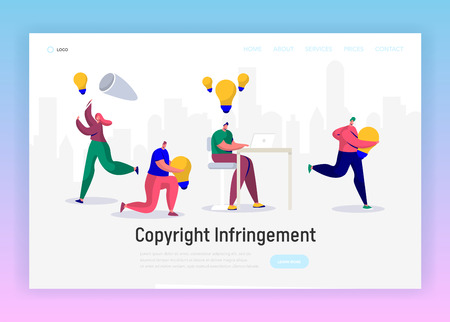 Online Journalist Write Creative Copyright for Social Article Landing Page. Content Writer Work Infringement. Digital Freelance Character Website or Web Page. Flat Cartoon Vector Illustration  イラスト・ベクター素材