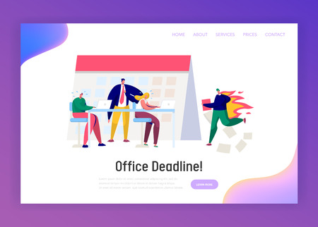 Office Business Manager Work Overtime at Deadline Landing Page. Stress Character Complete Task under Hard Boss Pressure. Conflict Time Report Website or Web Page. Flat Cartoon Vector Illustration Illustration