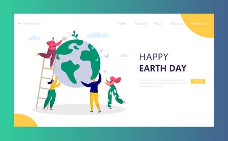 Earth Day Man Save Green Planet Environment Landing Page. People of World Water Plant for Ecology Celebration Preparation. Nature Globe Ecology Website or Web Page. Flat Cartoon Vector Illustration