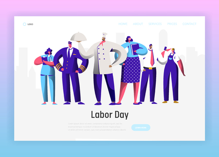 Labor Day Different Profession Character Group Landing Page. September Holiday National Celebration for Diverse Man and Woman Job Occupation Website or Web Page. Flat Cartoon Vector Illustration