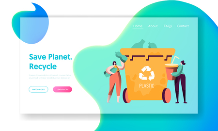 Recycle Sort Plastic Rubbish Landing Page. Woman Throw Away Cup to Trash Bin for Separation to Reduce Environment Pollution. Renew Garbage Website or Web Page. Flat Cartoon Vector Illustration