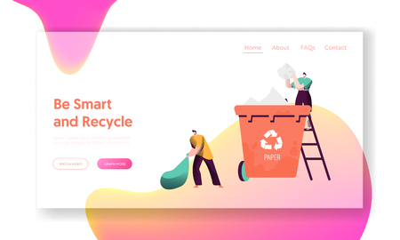 Recycle Separate Paper Trash Bin Landing Page. Man Throw Away Garbage to Container for Sorting to Reduce Environment Pollution. Reuse Concept for Website or Web Page. Flat Cartoon Vector Illustration
