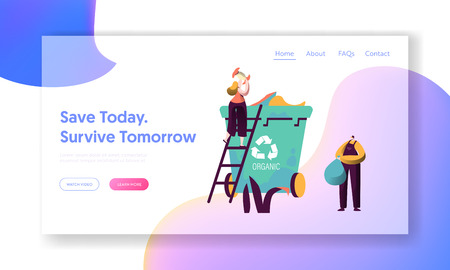 Recycle Sort Organic Garbage Landing Page. Woman Throw Away Food to Dustbin Container for Separation to Reduce Environment Pollution. Reuse Garbage Website Web Page. Flat Cartoon Vector Illustration