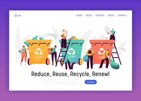 Sorting Organic Trash for Recycle Landing Page. Rubbish Bin for Plastic and Paper Separation to Reduce Environment Pollution. Reuse Garbage Website or Web Page. Flat Cartoon Vector Illustration