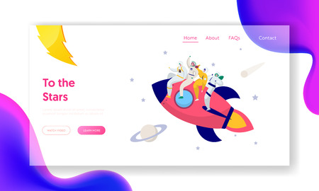 Astronaut Team Travel Rocket Intergalactic Space Landing Page. People on Spacecraft Fly in Solar Star System to Saturn Comet. Fantastic Technology Website or Web Page. Flat Cartoon Vector Illustration 向量圖像