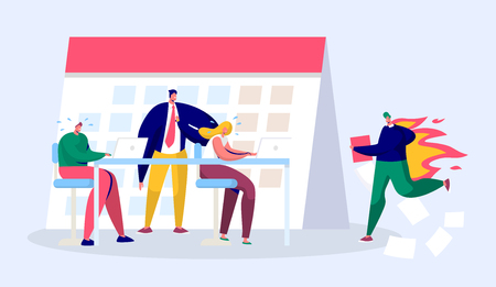 Office Business Manager Person Work Overtime at Deadline. Stress Character Complete Report under Hard Boss Pressure. Conflict Career Time Discipline Job Flat Cartoon Vector Illustration