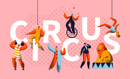 Circus Carnival Show Character Typography Horizontal Poster. Magician and Unicycle Juggler Entertainment. Funny Costume Strongman Colorful Advertising Letter Banner Flat Cartoon Vector Illustration  イラスト・ベクター素材