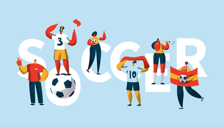 Soccer Fan Character Cheering Team Typography Banner. People Group Play Football Final Game. Sport Winner Flag. Motivation Cup Goal Horizontal Poster Design Flat Cartoon Vector Illustration