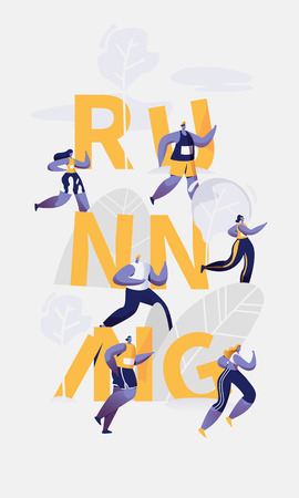 Marathon Runner Running Sport Competition Typography Banner. People Jogging for Training Club Workout. Fast Speed Exercise Concept Advertising Vertical Poster Design Flat Cartoon Vector Illustration