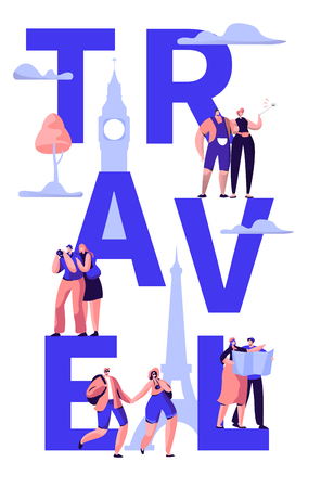 Travel Tour Around World Typography Banner Design. Holiday Trip to Europe International Sale Offer. Weekend Tourism Voyage Advertising Concept Vertical Poster Design Flat Cartoon Vector Illustration