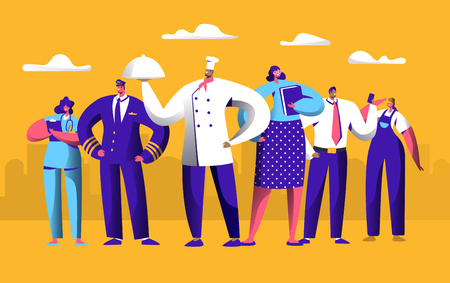 Different Job Worker Set for Labor Day Holiday Banner. People Group Work in Uniform. Chef, Pilot and Doctor Employment International Service. Engineer Character Woman Flat Cartoon Vector Illustration
