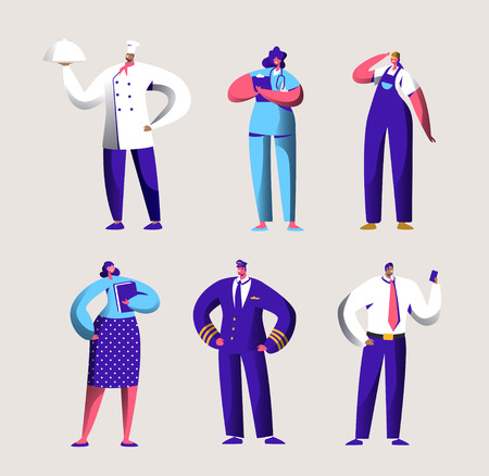 Various Career Worker Set for Labor Day Holiday Banner. People Group in Different Uniform. Chef, Pilot and Doctor Work in Business Job Occupation. Engineer Character Flat Cartoon Vector Illustration Banque d'images - 123179402