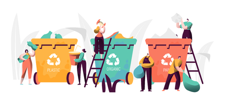 Trash Recycling Industrial Concept. People Characters Sorting Garbage Waste. Saving Earth Ecology Background Environmental conservationist. Vector illustration