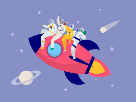 Astronaut Team Travel Rocket Intergalactic Space. People on Spacecraft Fly in Solar System to Saturn Comet Star. Fantastic Explorer Transportation to Moon Flat Cartoon Vector Illustration