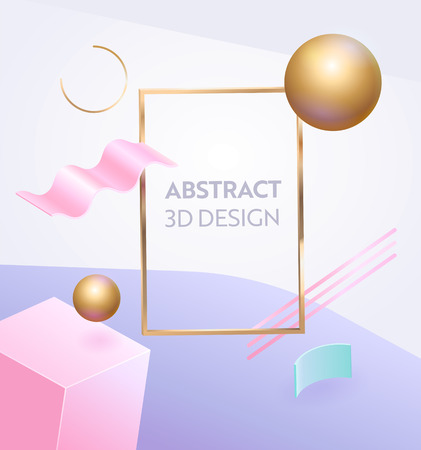 Abstract Geometric Figure Frame 3d Banner. Digital Graphic Background Gradient for Advertising Marketing Poster. Dynamic Sale Sign with Modern Creative Pink Decoration Vector Illustration Illustration