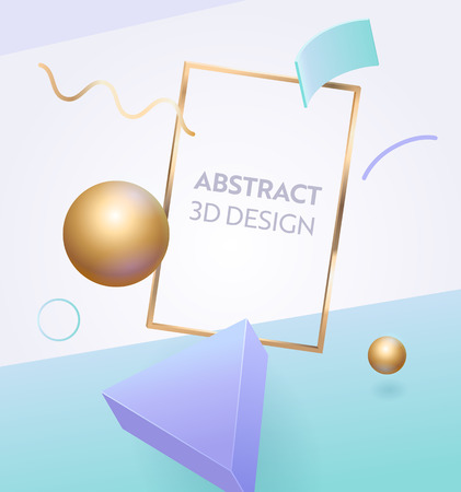 Abstract Geometric Frame 3d Banner Design. Digital Graphic Figure Background for Advertising Marketing Poster. Dynamic Element Bright Sign with Modern Creative Golden Sphere Vector Illustration